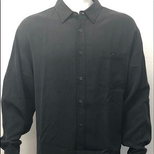 Tommy Bahama Men's Button Up Black 100% Silk LS XL